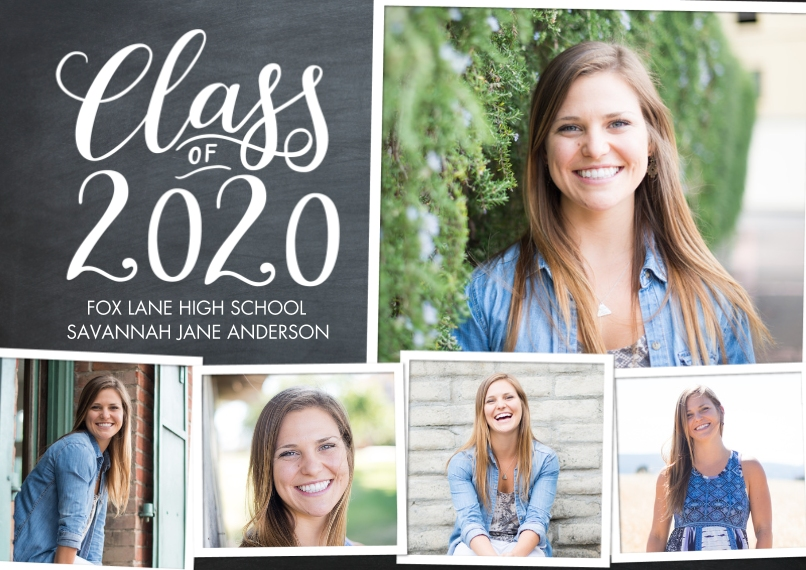 2020 Graduation Announcements 5x7 Cards, Premium Cardstock 120lb with Scalloped Corners, Card & Stationery -2020 Class of Script by Tumbalina