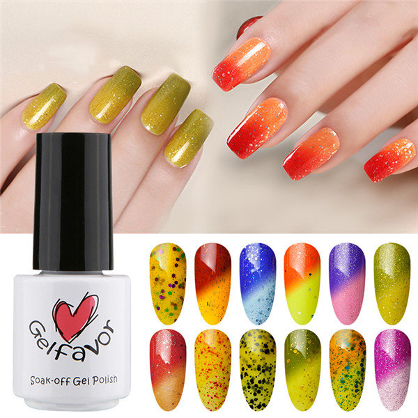 Gelfavor Shiny Temperature Change UV Gel Polish LED Soak-off Lacquer Varnish Nail Art 7ML