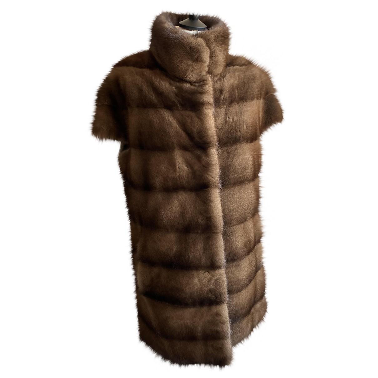 Saga Furs - Pull   pour femme en vison - marron