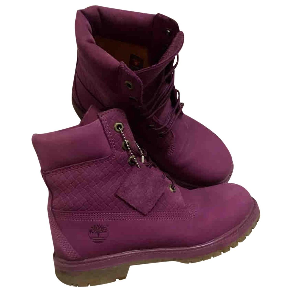 Timberland - Bottes   pour femme en cuir - violet