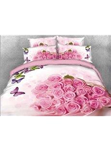 Vivilinen 3D Bunch of Pink Roses Colorful Butterflies 4-Piece Bedding Sets/Duvet Covers