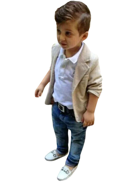 Milanoo Ring Bearer Suits Polyester Cotton Long Sleeves Overcoat Pants Shirt Champagne Wedding Boy Suits