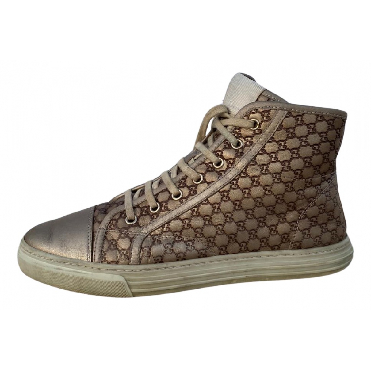 Gucci N Beige Leather Trainers for Women 38.5 IT
