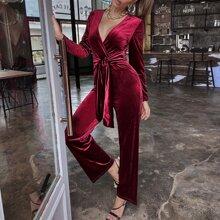 Solid Surplice Front Belted Velvet Jumpsuit