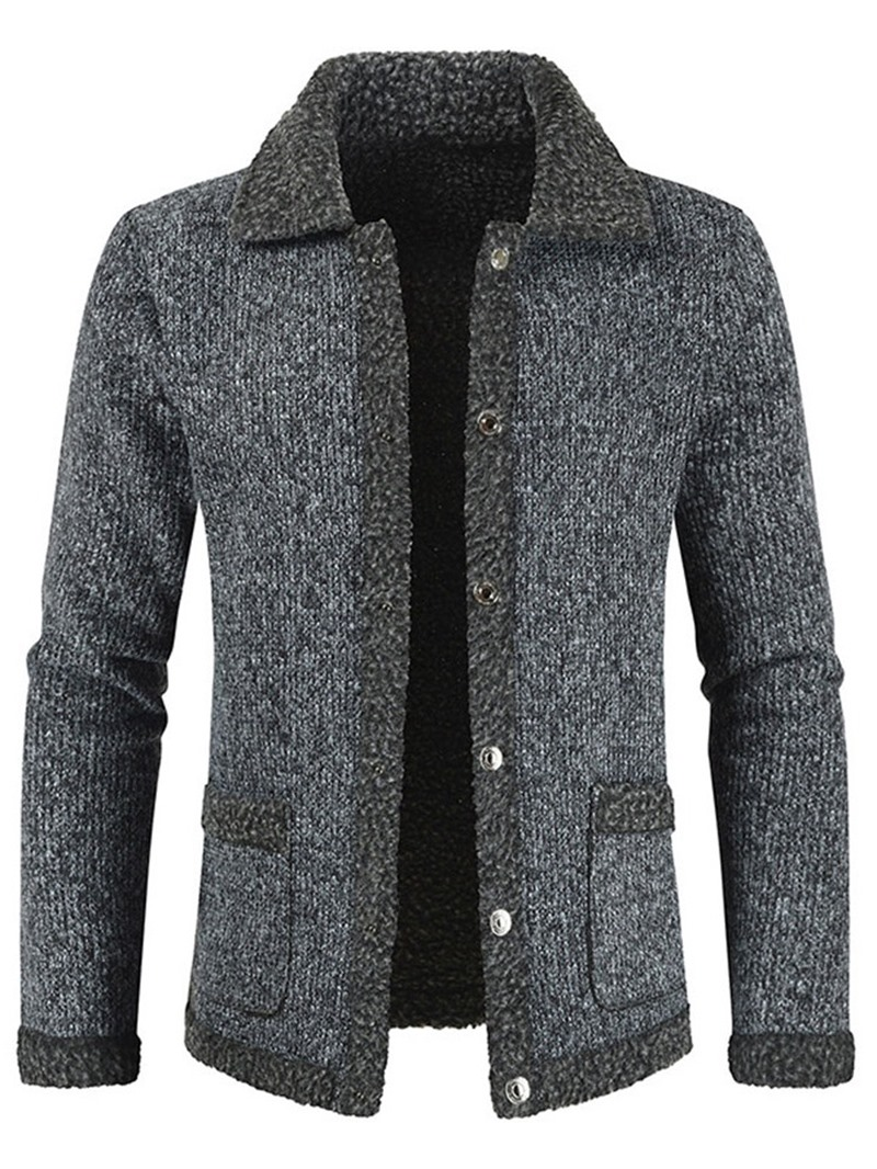 Ericdress Standard Lapel Patchwork Mens Coat Slim Sweater