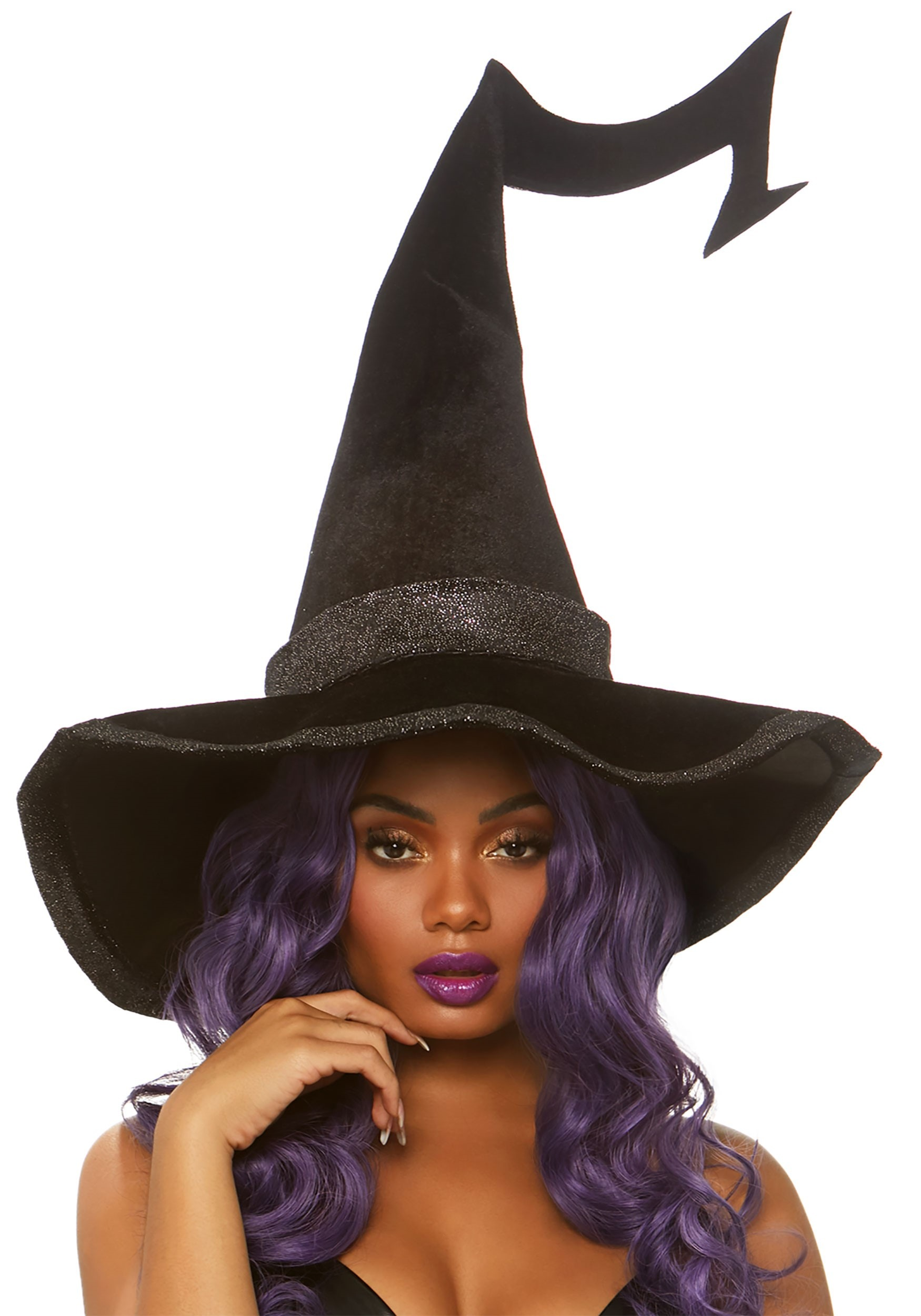 Velvet Bewitched Witch Hat with Brim