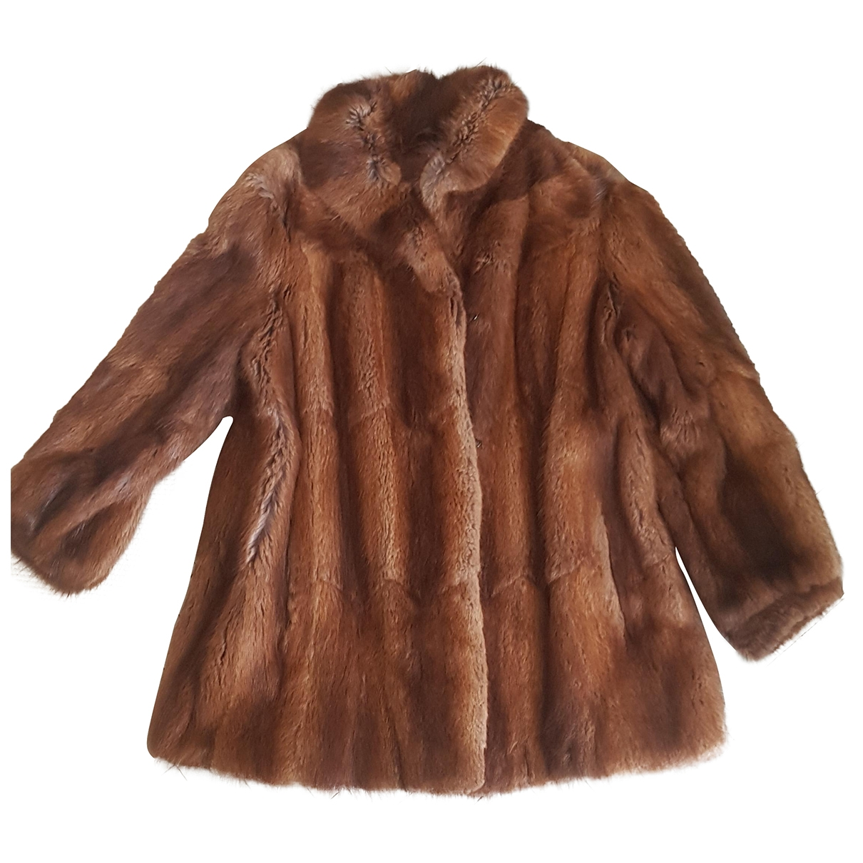 Non Signé / Unsigned Hippie Chic Brown Fur jacket for Women XL International