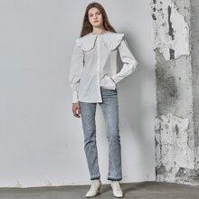 Camisa de cuello bobo de 100% algodon