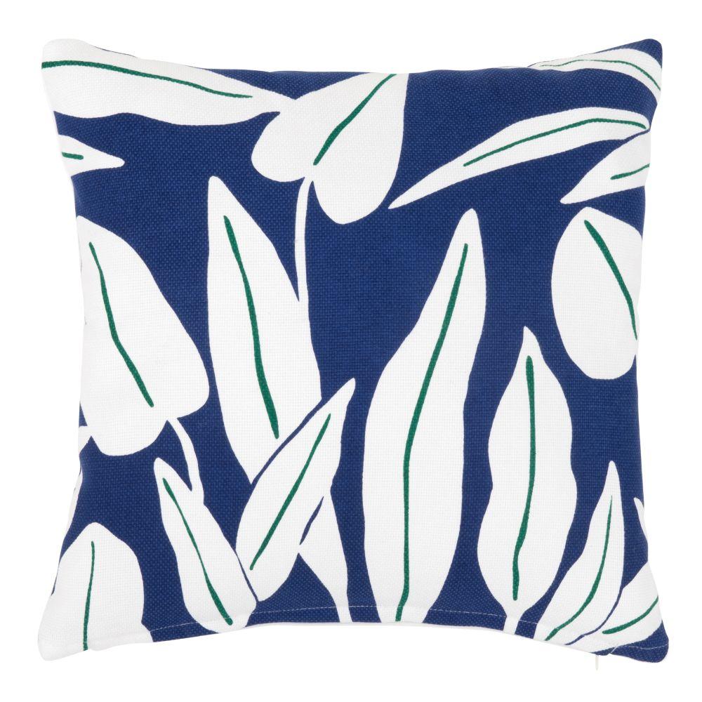 Kissenbezug aus Baumwolle, blau, mit weissem Blattdruckmuster 40x40