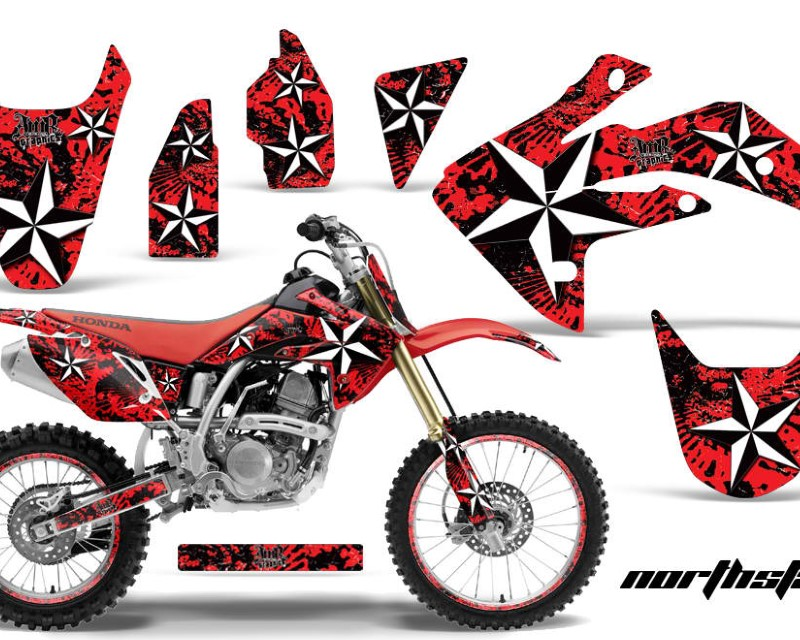 AMR Racing Graphics MX-NP-HON-CRF150R-07-16-NS R Kit Decal Sticker Wrap + # Plates For Honda CRF150R 2007-2016áNORTHSTAR RED