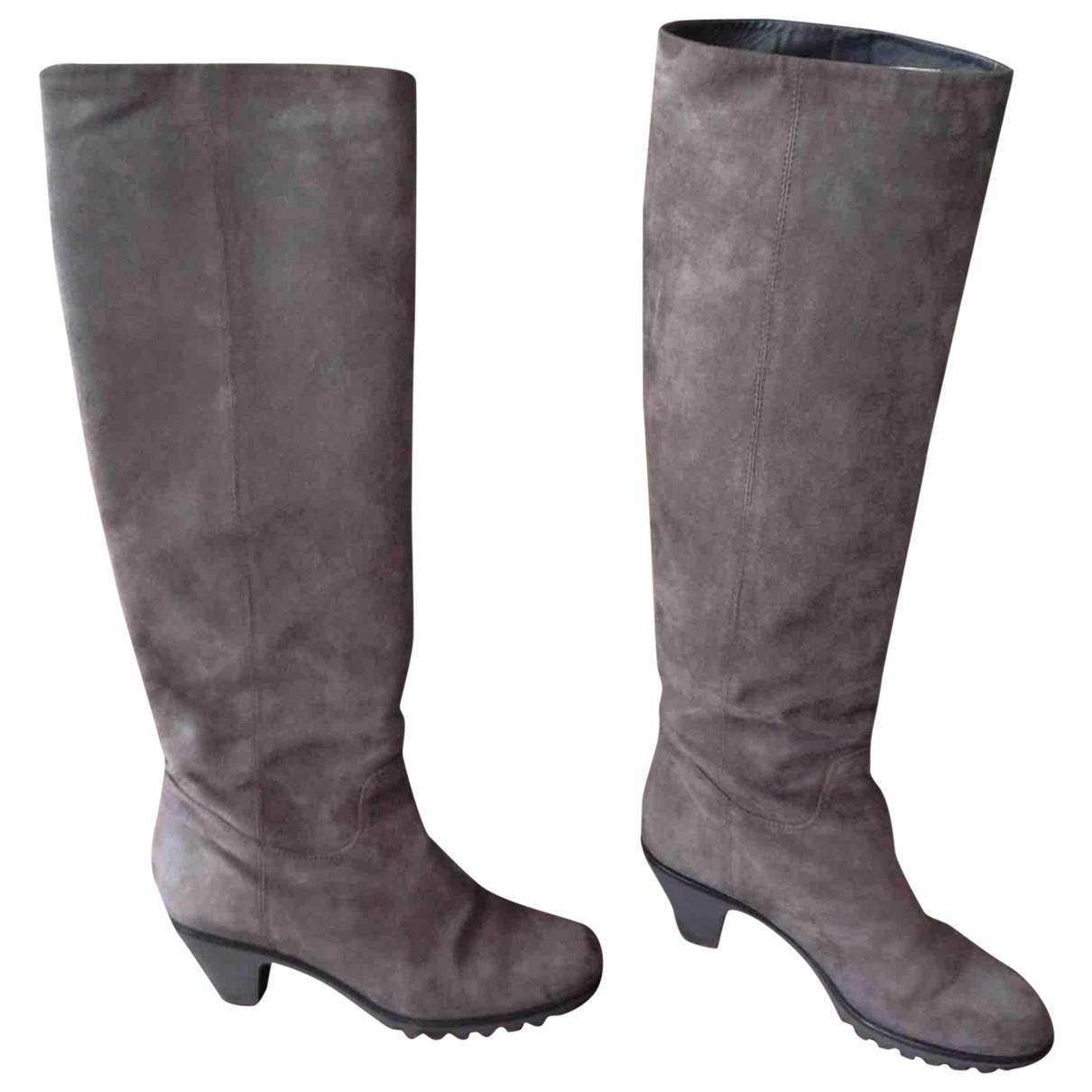 Hogan \N Grey Suede Boots for Women 36.5 EU