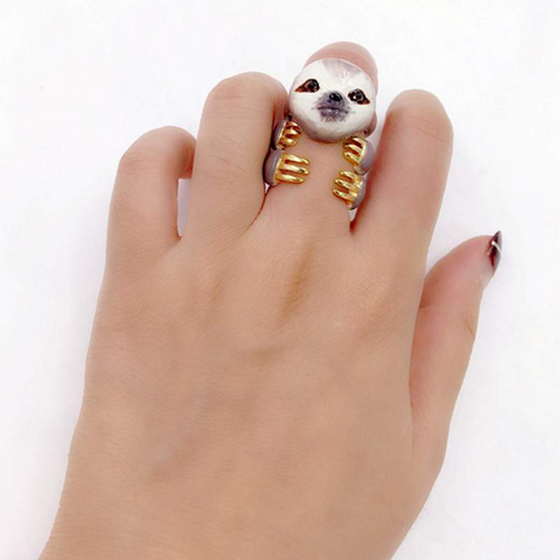 Creative Cartoon Sloth Design 3 Pieces Enamel Rings Sets