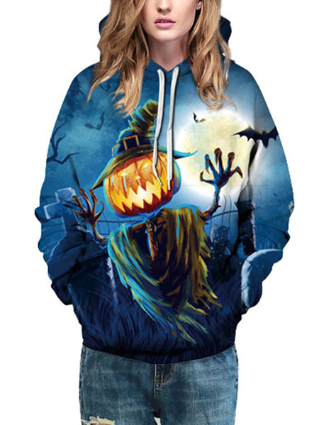Yoins Active Halloween Couples Mounted Sports Hoodies in Blue