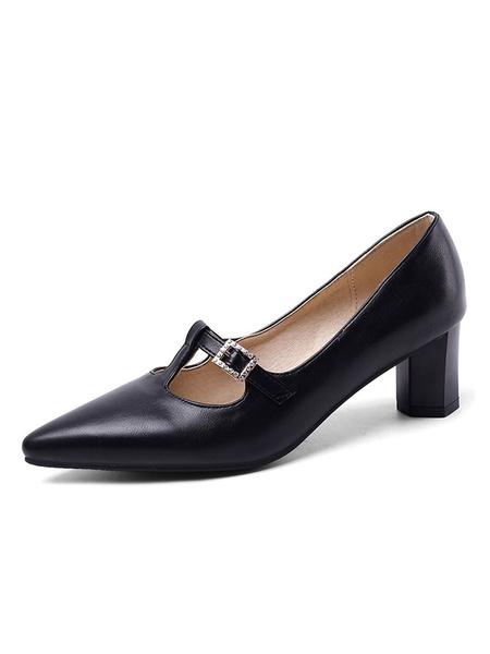 Milanoo Zapatos de tacon alto con tacon en punta para mujer, tipo T, sin cordones, bombas
