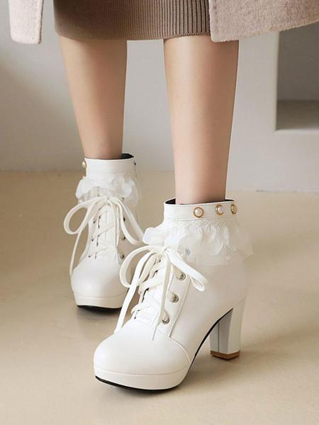 Milanoo Botines Lolita Zapatos de botines Lolita con punta redonda de cuero PU