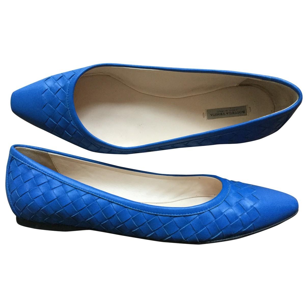 Bottega Veneta \N Blue Leather Ballet flats for Women 37 EU
