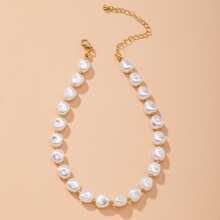 Halskette mit Kunstperlen und Perlen Dekor