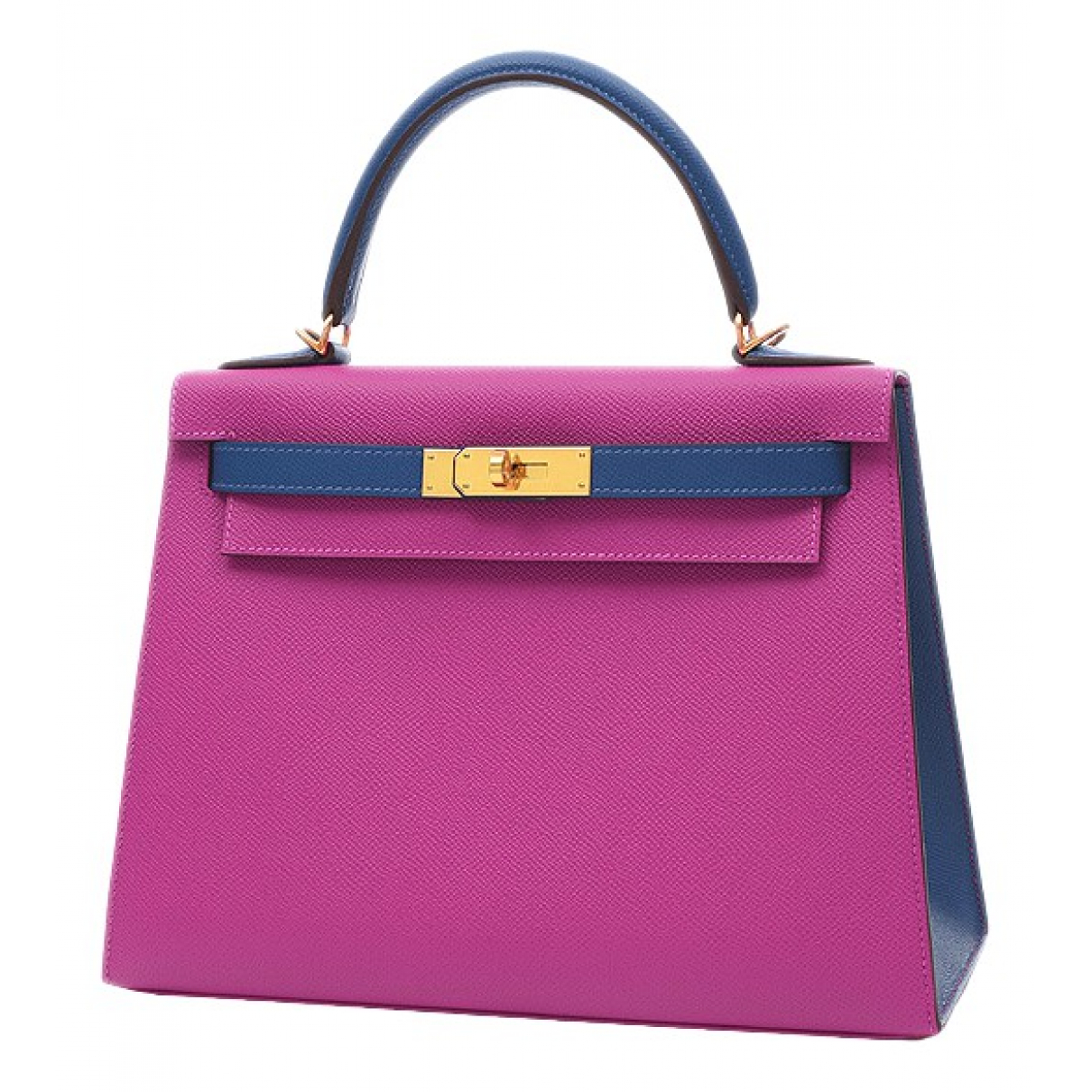 Hermes - Sac a main Kelly 28 pour femme en cuir - violet