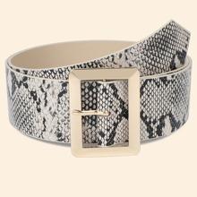 Plus Snakeskin Pattern Metal Buckle Belt