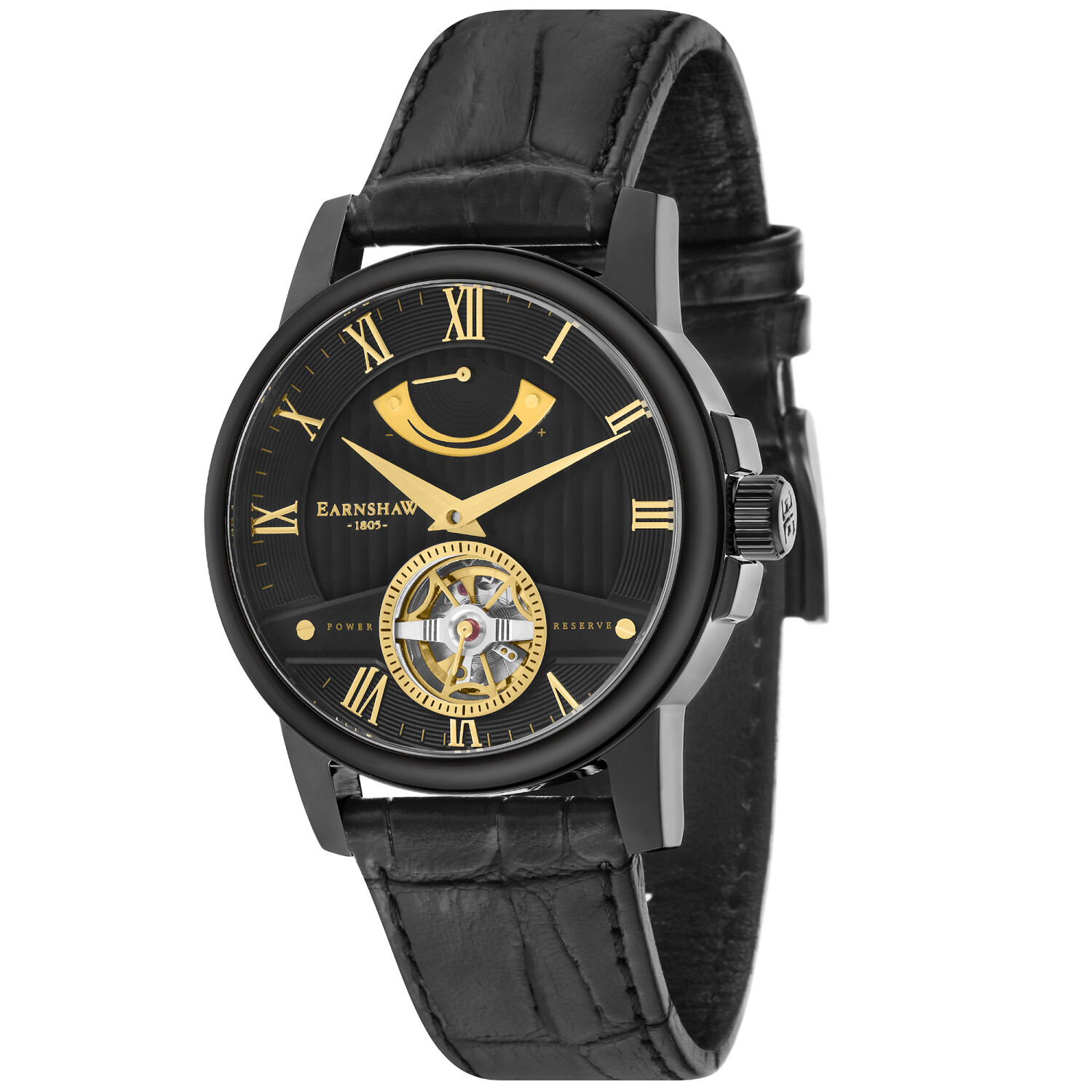 Thomas Earnshaw Men's Flinders ES-8081-05 Black Leather Automatic Self Wind Dress Watch
