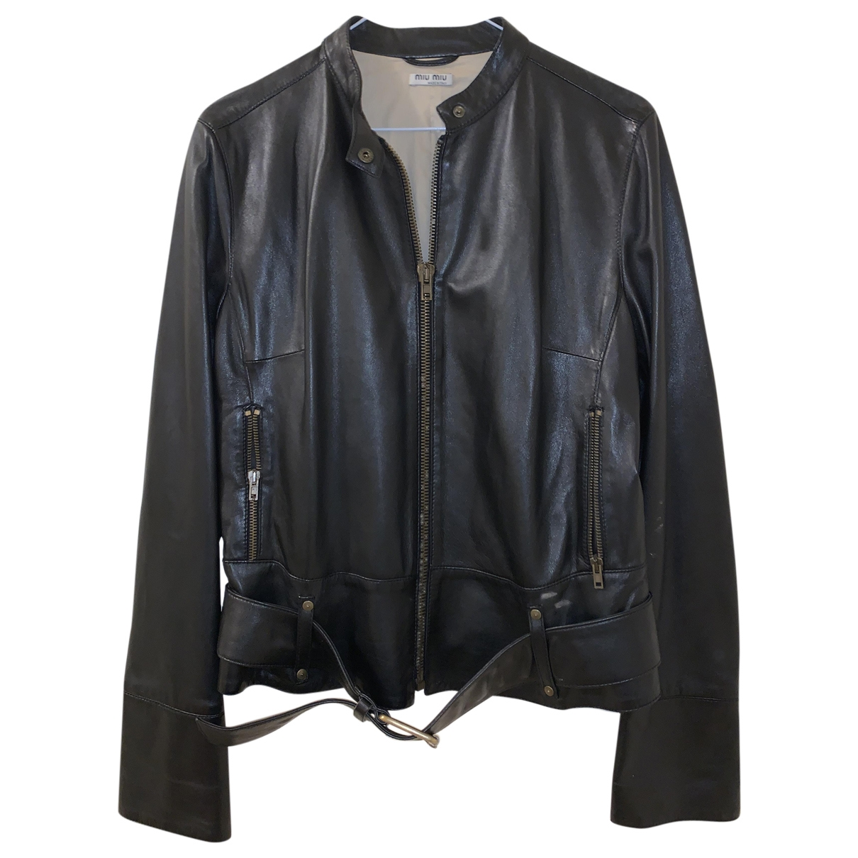 Miu Miu \N Black Leather Leather jacket for Women 44 IT