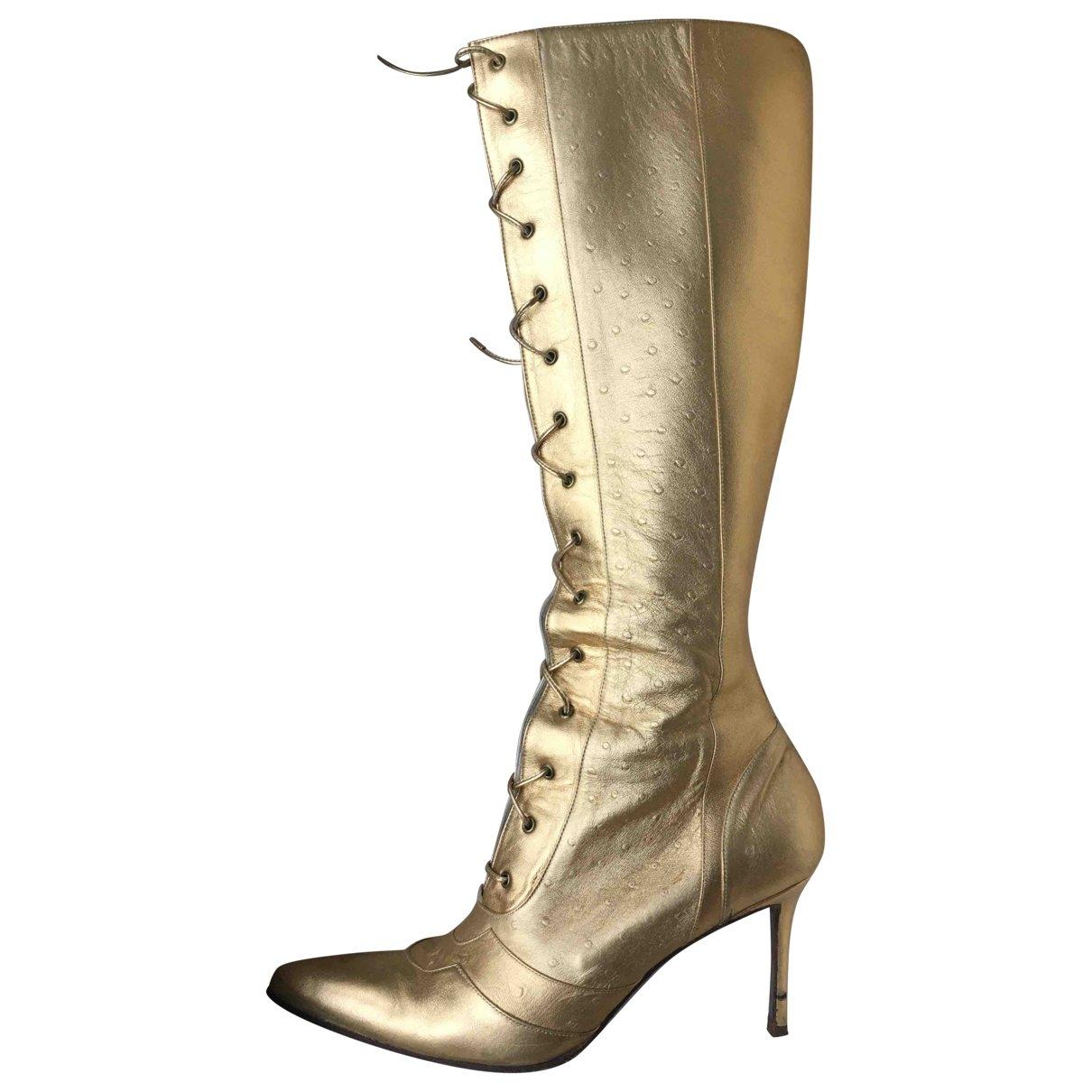 Dior - Bottes   pour femme en cuir - dore