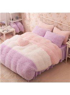 Noble Style Color Block Soft Velvet 4-Piece Bedding Sets/Duvet Cover