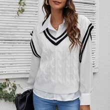 Striped Trim Cable Knit Sweater Vest Without Blouse