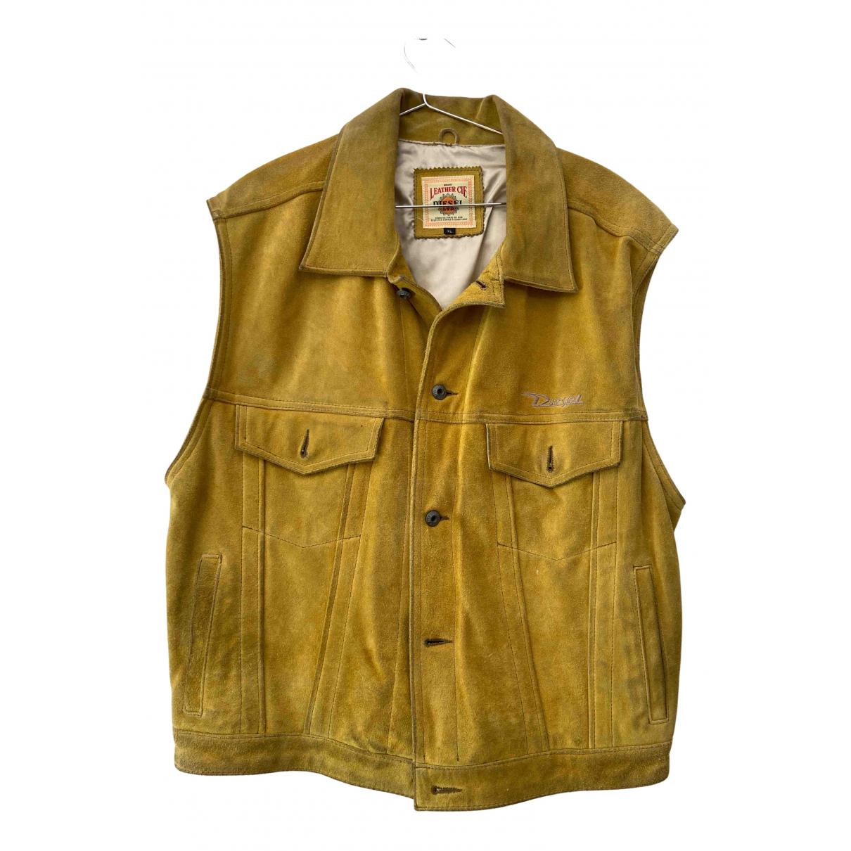 Diesel - Vestes.Blousons   pour homme en cuir - jaune