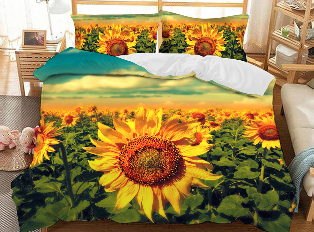 Yellow Sunflowers 3D Floral Duvet Cover Sets Soft 3-Piece Soft Bedding Sets with 2 Pillowcases