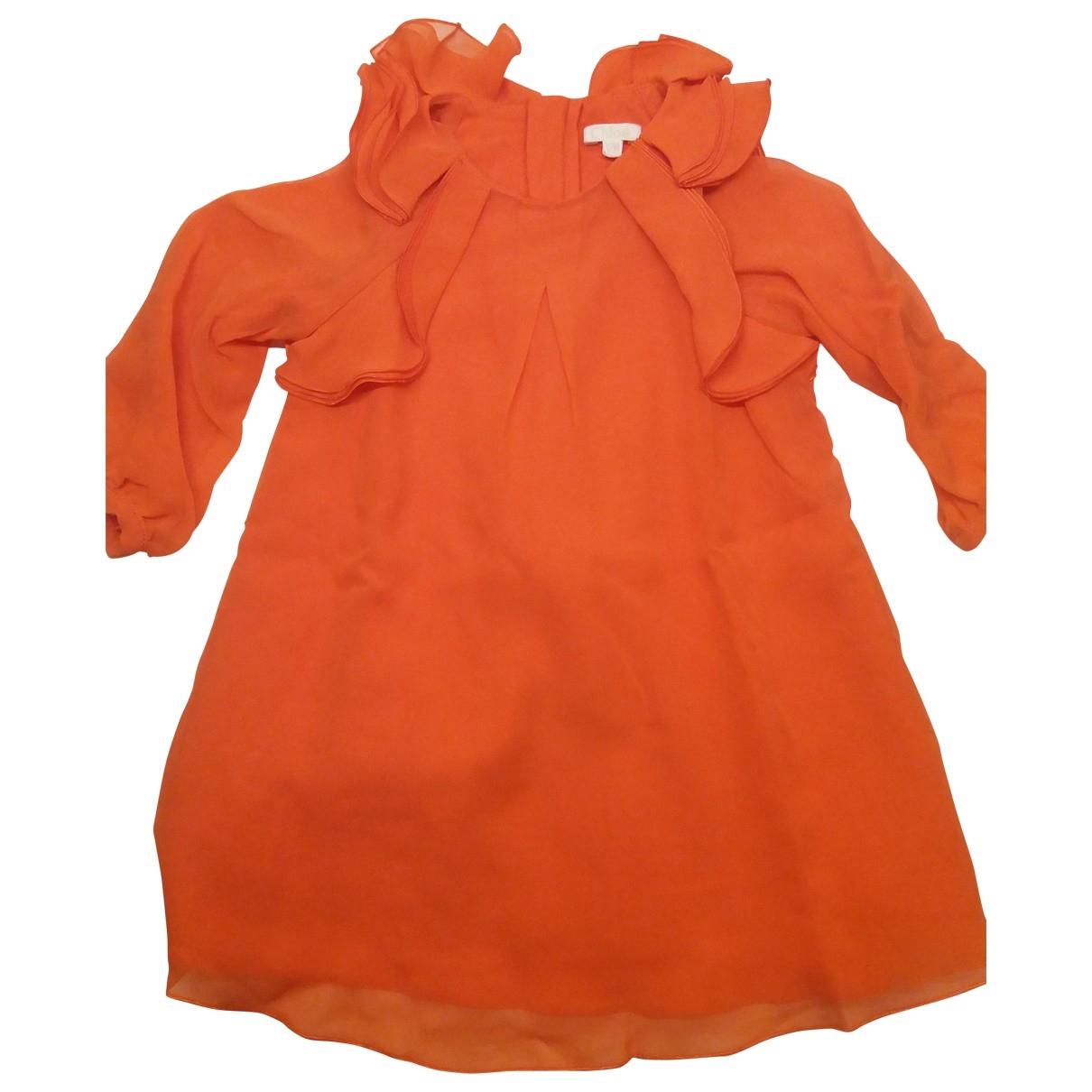 Chloe - Robe    pour enfant en soie - orange