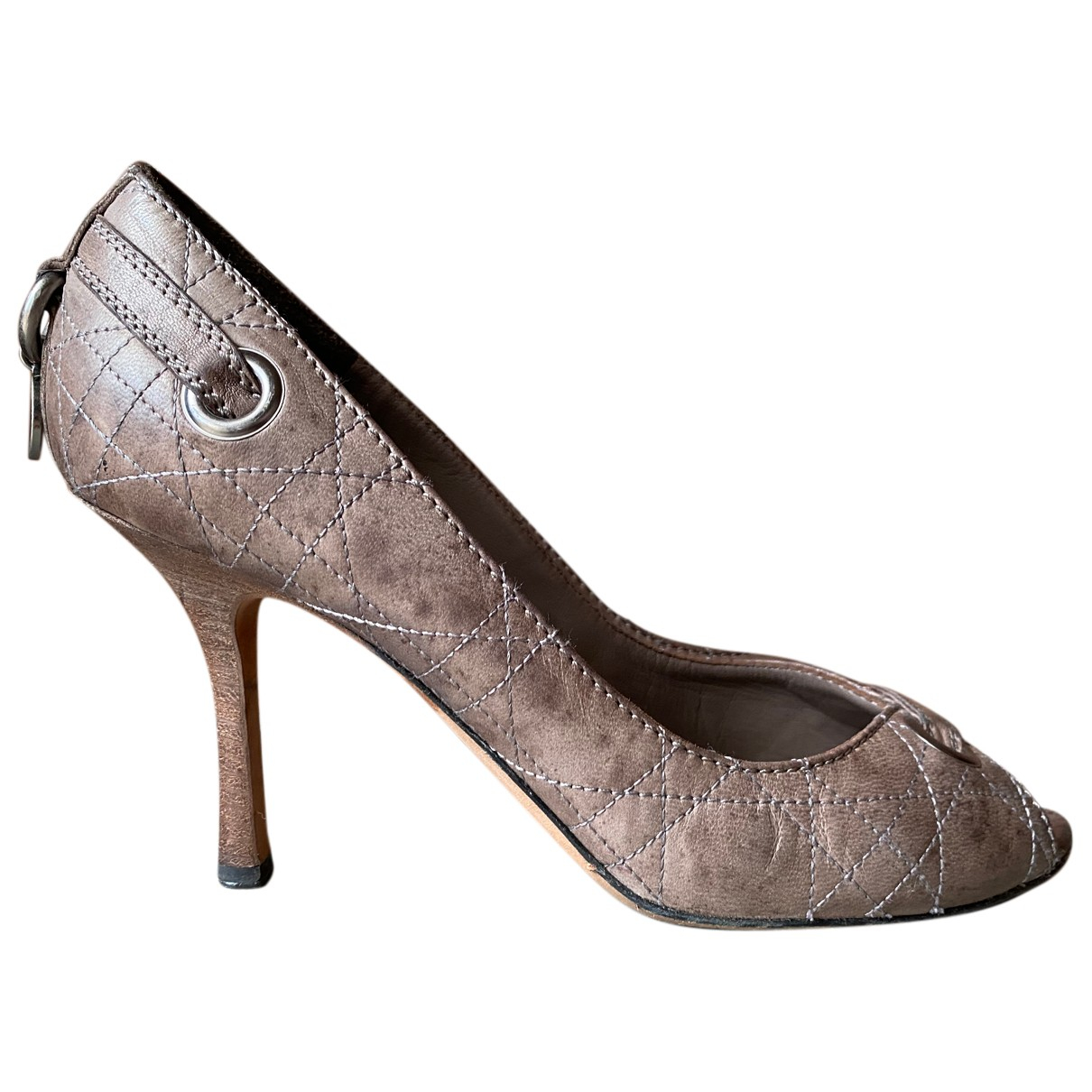 Dior N Anthracite Leather Heels for Women 38.5 EU