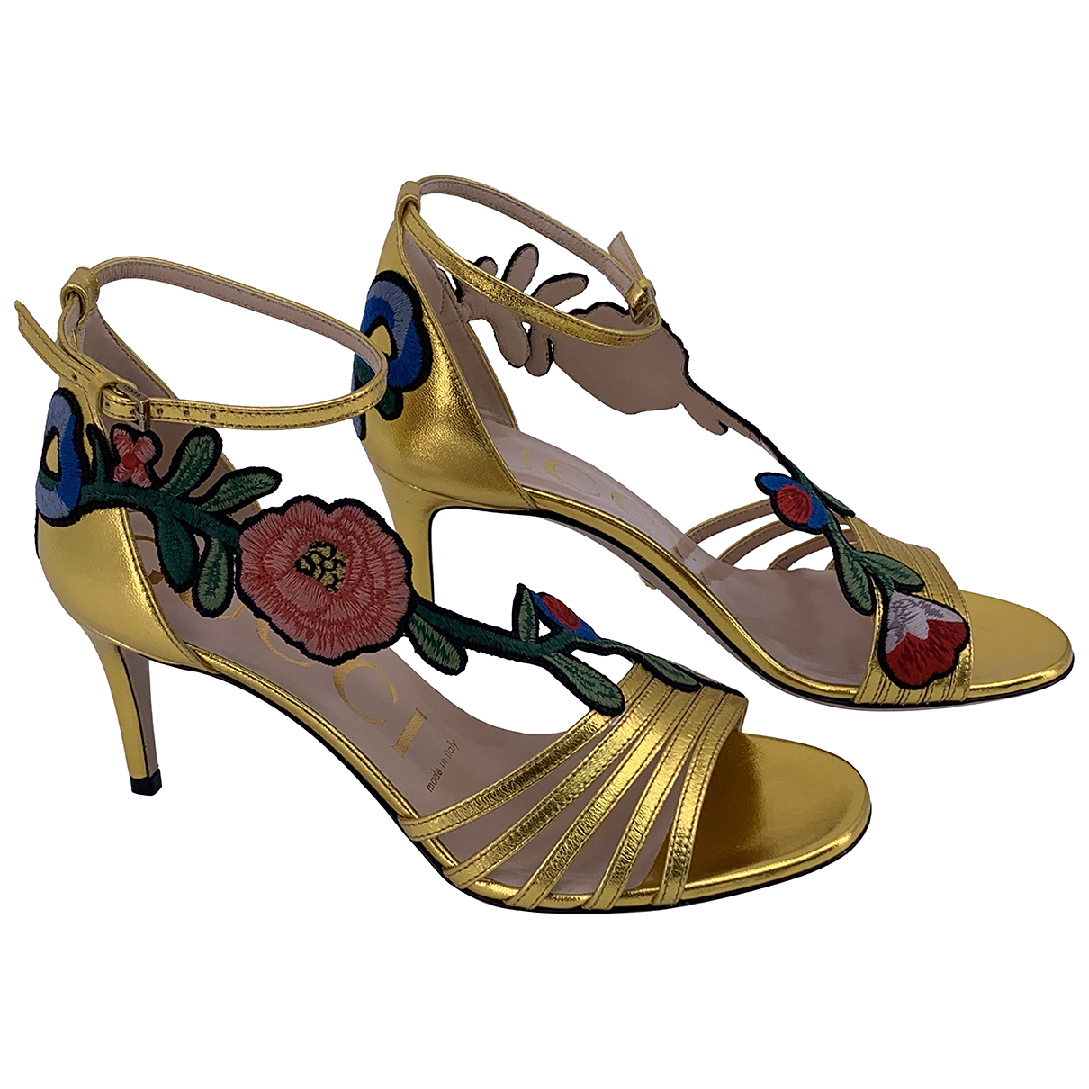 Gucci N Gold Leather Heels for Women 36.5 IT