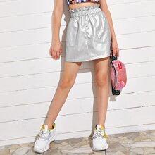 Girls Paperbag Waist Button Front PU Leather Skirt
