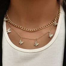 2 Stuecke Halskette mit Strass und Schmetterling Anhaenger