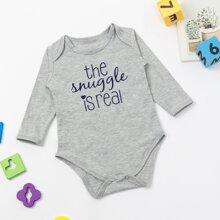 Baby Unisex Slogan Print Bodysuit