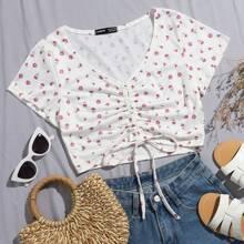 Crop T-Shirt mit Gaensebluemchen Muster, Kordelzug und Knoten