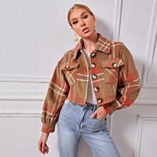 Jacke mit Taschen Klappe, sehr tief angesetzter Schulterpartie und Karo Muster