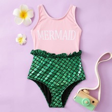 Toddler Girls Fish Scale Frill One Piece Swimsuit
