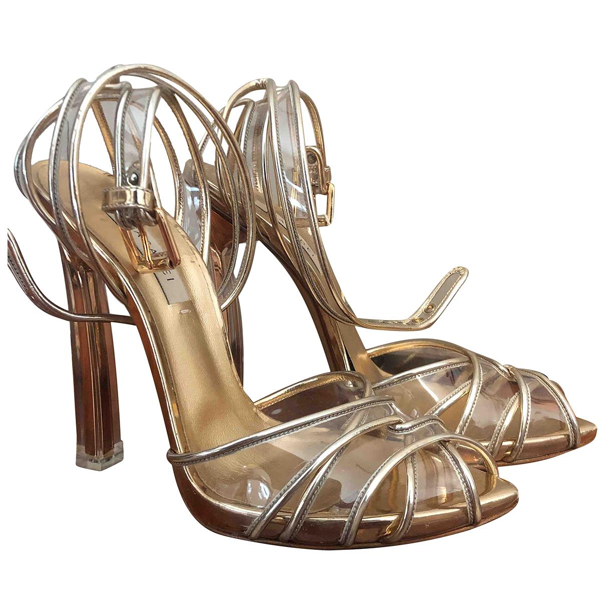 Casadei - Sandales   pour femme en cuir - metallise