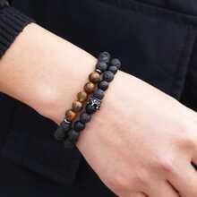 2pcs Guys Crown Decor Beaded Bracelet