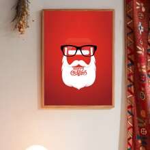 Abstract Santa Claus Wall Print Without Frame