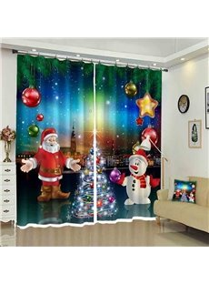 Santa and Snowman Merry Christmas Holiday Curtain for Kids