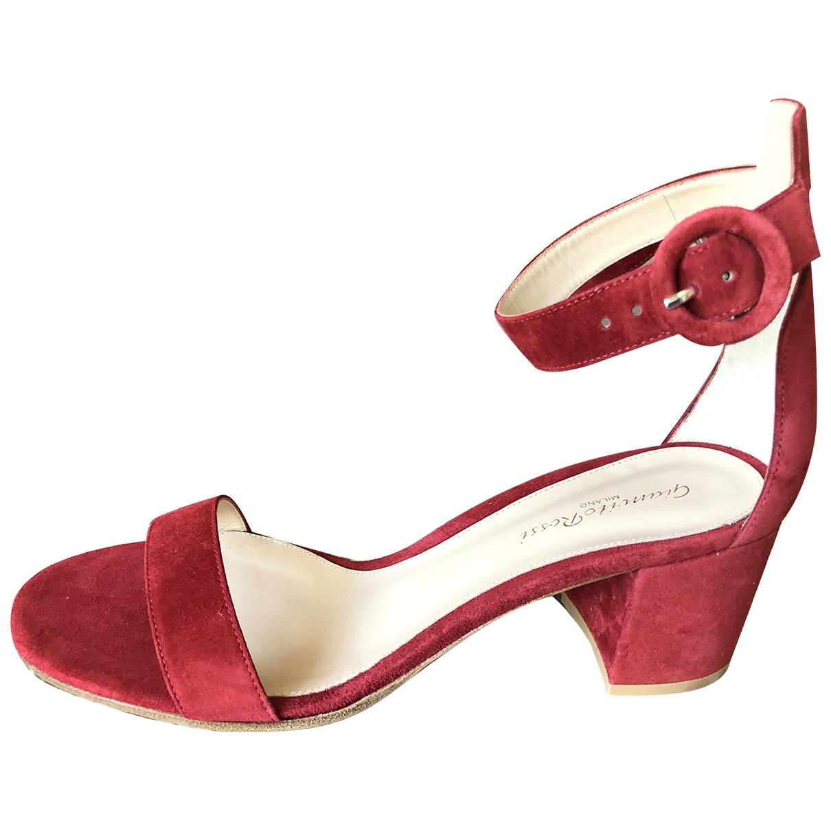 Gianvito Rossi Versilia Red Suede Sandals for Women 41 EU