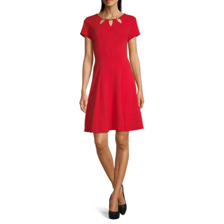 Alyx Short Sleeve Fit & Flare Dress, 18 , Red