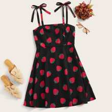 Strawberry Print Knot Cami Dress