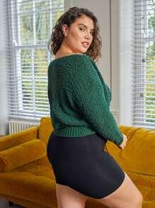 Plus Twist Front Drop Shoulder Sweater