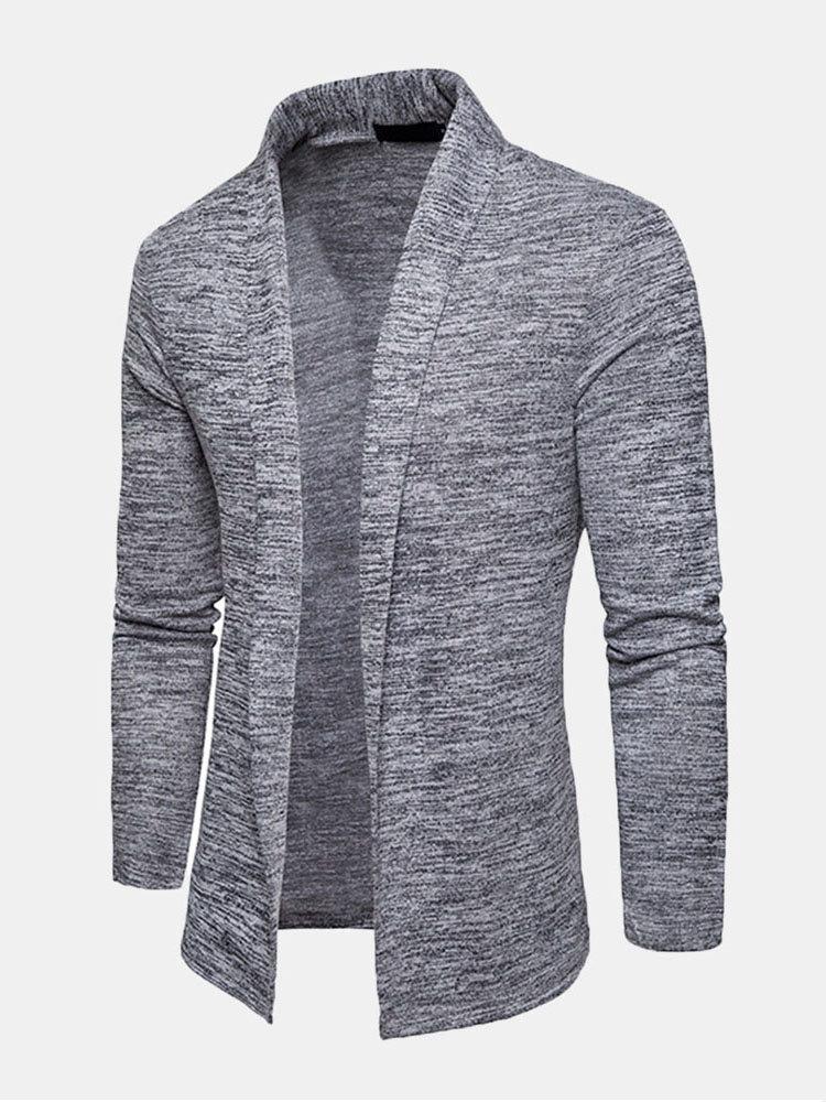 Mens Casual Solid Color Fashion Shawl Collar Knit Cardigan