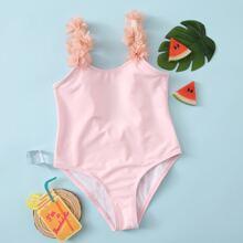 Kleinkind Maedchen einteiliger Badeanzug mit Applikation