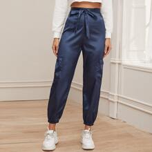 Belted Satin Cargo Pants